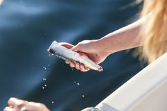 Woman cleaning mackerel in boat at sea Stock Images