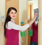 Woman cleaning  mirror  with cleanser at home. Smiling brunette woman cleaning  mirror  with cleanser at home Stock Images