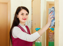 Woman cleaning  mirror at home Stock Image