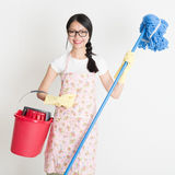 Woman Cleaning with mop and bucket Royalty Free Stock Photos