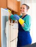 Woman cleaning office room. Smiling cleaning woman in uniform wiping furniture in the office Stock Photos