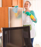 Woman cleaning office room. Young woman wiping furniture at office room with rag and sprayer Stock Photography