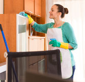 Woman cleaning at the office Stock Photography