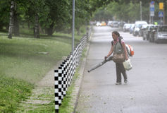 Woman cleaning park footpath Royalty Free Stock Photos