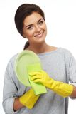 Woman cleaning plate Royalty Free Stock Photos