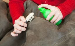 Woman cleaning a sheepskin with whisk broom Stock Photography