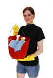 Woman with cleaning staff. Stock Photo