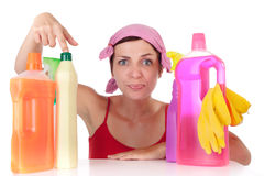 Woman and cleaning supplies Stock Photo