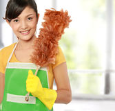 Woman with cleaning sweep. Picture of beautiful woman with cleaning sweep royalty free stock image