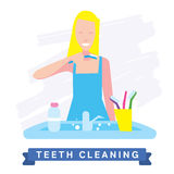 Woman cleaning teeth. Beautiful white teeth smile. Stock Photography