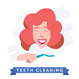 Woman cleaning teeth. Beautiful white teeth smile. Royalty Free Stock Image