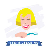 Woman cleaning teeth. Beautiful white teeth smile. Royalty Free Stock Images