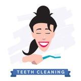 Woman cleaning teeth. Beautiful white teeth smile. Royalty Free Stock Photo