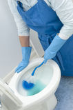Woman cleaning toilet Stock Photos