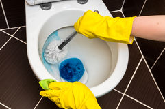 Woman is cleaning toilet bowl using brush Stock Images