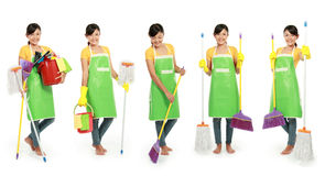 Woman with cleaning tool. Portrait of beautiful woman with cleaning tool over white background stock photo