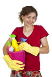 Woman with cleaning tools Stock Photos