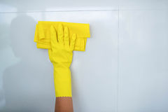 Woman cleaning up Stock Image