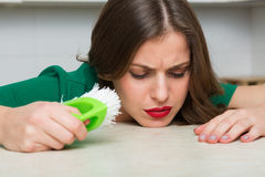 Woman cleaning up her kitchen Royalty Free Stock Photo