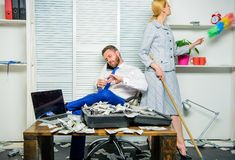 Woman cleaning up office while boss counting money. Equal rights for education work and salary. Gender discrimination in. Business life. Female discrimination stock photos
