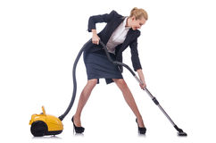 Woman cleaning with vacuum cleaner. On white Royalty Free Stock Images