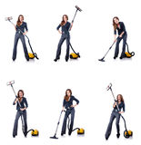 The woman cleaning with vacuum cleaner Stock Image