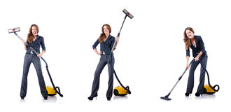 The woman cleaning with vacuum cleaner Royalty Free Stock Images