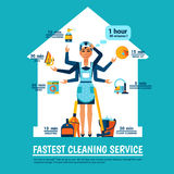 Woman Cleaning Vector Illustration Royalty Free Stock Photography