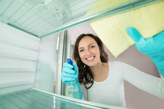 Woman Cleaning View From Inside Refrigerator Stock Photos