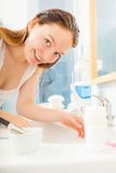 Woman cleaning washing hands. Hygiene. Royalty Free Stock Photography