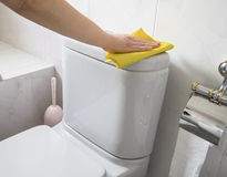Woman cleaning wc Stock Photo