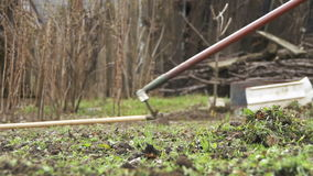 Woman is cleaning the weeds in the garden with rake tool. slow motion stock video