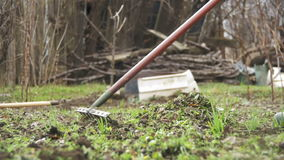 Woman is cleaning the weeds in the garden with rake tool. slow motion stock footage