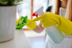 Woman cleaning white shelf Royalty Free Stock Images