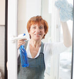 Woman cleaning window Royalty Free Stock Images