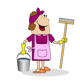 Woman cleaning woman with a MOP and bucket Royalty Free Stock Photo