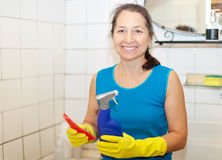 Woman cleans bathroom with rug and cleaner Stock Photography