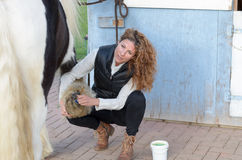 Woman cleans the horse's hooves Stock Photos