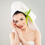 Woman with Clear Skin after Bath. Skincare and Spa Treatment Stock Image