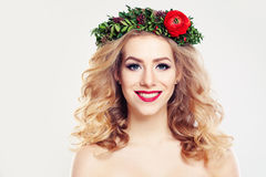 Woman with Clear Skin, Curly Hair and Flowers Wreath Royalty Free Stock Images