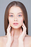 Woman with Clear Skin and Healthy Hair Stock Image