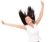 Woman clenching arms in excitement Royalty Free Stock Image