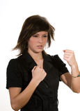 Woman clenching fists Stock Photos