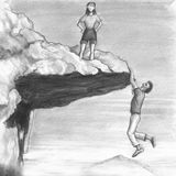 Woman on a Cliff with a Man Hanging from the Edge. One female stands on an outcropping that a man dangles from the bottom edge of. Woman looks from a cliff top Royalty Free Stock Images