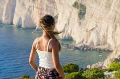 Woman on cliff of Zakynthos island - Agalas, Greece Stock Photos