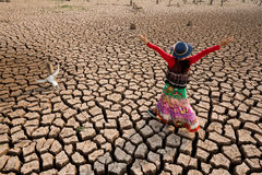 Woman in climate change world crisis Stock Image