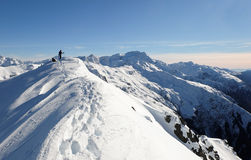 A Woman Climber Arrives at the High and Snowy Summit of Mt Bealey Royalty Free Stock Image