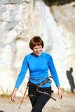 Woman climber Stock Photography