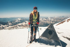 Woman climber reached Elbrus mountain east summit Royalty Free Stock Images