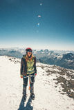 Woman climber reached Elbrus mountain summit. Travel Lifestyle success concept adventure active vacations outdoor happiness emotions enjoying peaks range Royalty Free Stock Photography